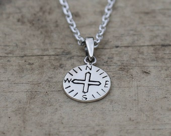 Compass Necklace, Sterling Silver Compass Pendant, Silver Necklace, Compass Jewellery, Silver Compass, Silver Pendant, JP0017