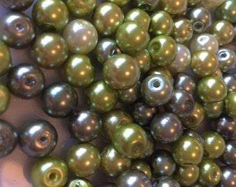 8mm Green  Glass Pearl Mix x 150