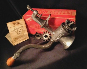 Vintage Meat Grinder. Steel.No.1 Universal. Has box and instructions. Grind it bithches.
