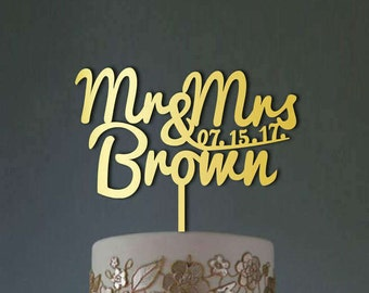 Mr and Mrs Cake Topper, Surname Cake Topper, Custom Wedding Cake Toppers, Personalized Cake Topper,  Gold Cake Toppers, CT#014