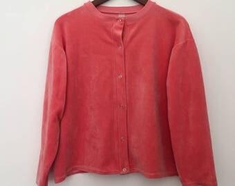 Vintage cardigan / velvet cardigan / vintage shirt / snap button shirt / vintage jacket / summer jacket / velvet jacket / pink jacket / 80s