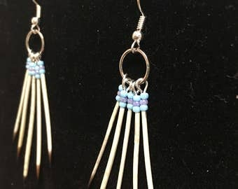 Blue and Purple Alaskan Porcupine Quill Earrings