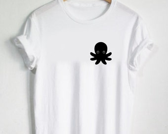 Octopus Shirt - Animal Octopus Squid Tshirt Cute Tees Reptile Womans Shirt Mens Tshirt Sea Ocean Gift Present Animal Face Beach Vibes Cute