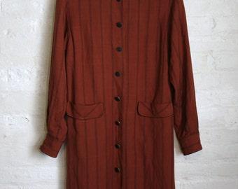 Rust Midi Striped Blazer