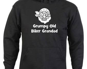 Grumpy Old Biker Grandad Design Black Hoodie in Sizes S - XXL