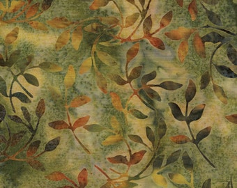 Sweet Georgia Peach - Coordinating Leaf Batik by Island Batik - Sold by the Yard