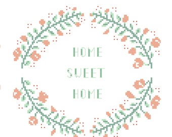 PDF floral cross stitch pattern, cross stitch wreath, pastel flowers cross stitch wreath, home sweet home hoop embroidery, diy embroidery