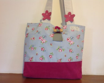 Tote bag with floral & pink needle cord fabric