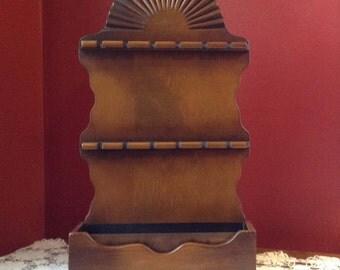Vintage Wooden Spoon Rack with Planter - Sunburst