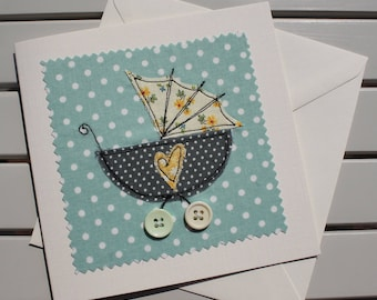 New Baby Card - Handmade - Machine Embroidered - Vintage Pushchair - Personalised Insert