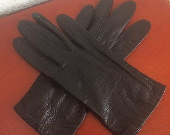 Vintage black leather gloves by Fownes, size 7