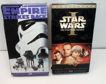 Star Wars The Empire Strikes Back and Star Wars Episode 1 The Phantom Menace VHS Movies Digitally Mastered THX Fox Video Lucasfilm