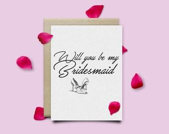 Will you be my bridesmaid - 5 x 7 Card  + Envelope - Bridesmaid - Proposal - Ask Bridesmaid - Invitation - Wedding Card - Bridal Party Gift
