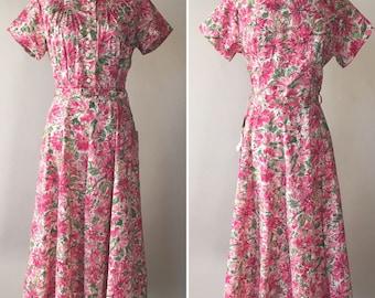 1950s Pink Floral Dress