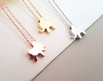 Elephant Necklace, Elephant Jewelry, Initial Necklace, Animal Jewelry, Personalized Jewelry, Rose Gold Silver Necklace, Gift for Her