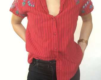 1970's Striped and Embroidered Red Top