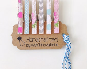 Clothespin Magnets, Clothespin Photo Clips, Classroom Decor, Refrigerator Magnets, Set of 6, Pink & Aqua, Floral and Dots