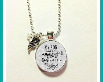 MEMORIAL CHARM, LOSS of Son, my son is an Angel, Son  Memorial Jewelry with Birthstone