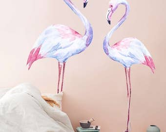 white flamingo wall decal, birds wall decor, nature wall sticker, pink hues reusable wall sticker, removable wall decor, repositionable #14W