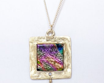 silver dichroic glass pendant with freshwater pearl necklace