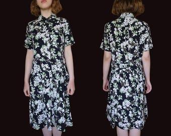 Black floral dress, vintage floral dress, vintage shirt dress, midi shirt dress, black floral midi dress, black green dress, 90s dress S M