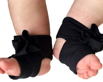 Black Baby Socks - Baby Barefoot Sandals - Black Baby Sandals  - Infant Sandals- Newborn Shoes - Infant Socks - Baby Girl Barefoot Shoes
