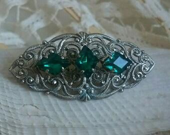 Triple green star - vintage brooch with Emerald stones, filigree and elegant brooch, PIN, jewelry, jewel