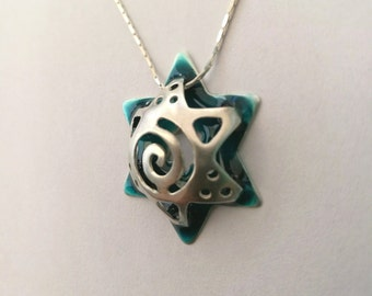 Star of David pendant made of silver, Plus cold colorful enamel