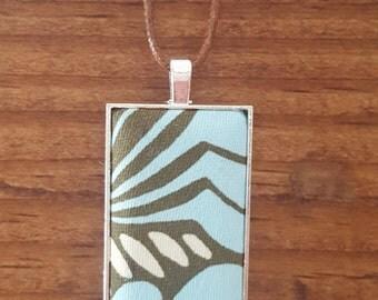 Blue Burst Rectangle Fabric Necklace