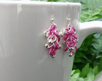 Pink and Silver Earrings with Silver Beads
