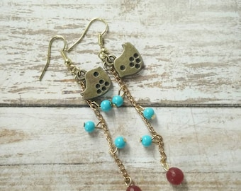Love birds and Turquoise with Ruby earrings
