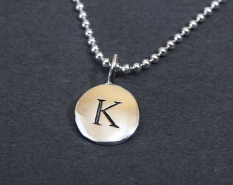 Sterling Silver Letter K Pendant Necklace Disc Charm Necklace