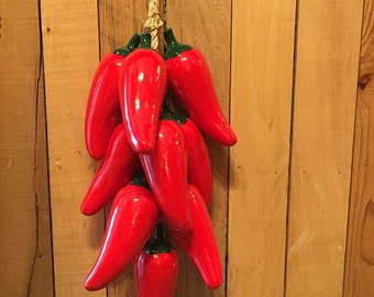 Red Chili Pepper String / Chili Peppers / Hanging Chili Peppers / Ceramic Chili Peppers / Red Peppers