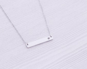 Silver Stainless Bar Necklace with Birthstone Indent - Stamping Supplies  Engraving - Bar Necklace - Stainless Steel Blanks - Hand Stamping