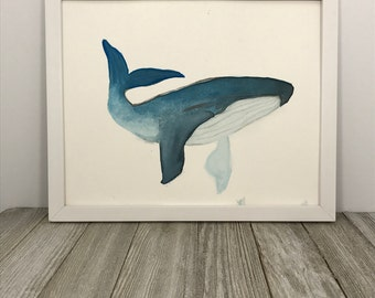 Blue Whale, Watercolor Painting, Original Art, 8x10