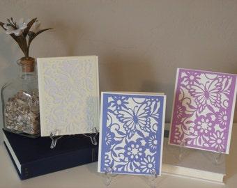 Notecard Set, Butterfly and Flower Notecard,  Blank Card, Handmade Card, Birthday Card, Thinking of You Card, Wedding Card, Friendship Card