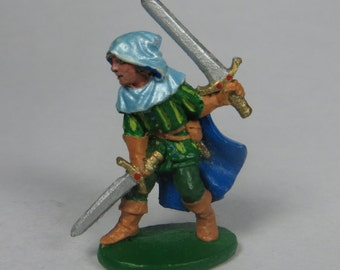 Dungeons and Dragons Miniature - DND - Female Duel Wielding Fighter - Hand Painted - Vintage - Role Playing - RPG - Miniature