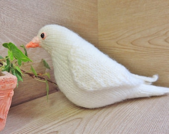 White dove - realistic knitted bird ornament