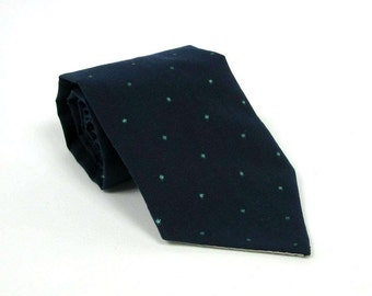 Navy Blue Necktie with Embroidered Emerald Green Dots/Cotton Polka Dot Emerald Simple Classic Spring Summer Wedding Skinny Tie Various Sizes