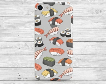 Cute iPhone 7 Case Sushi Clear iPhone 7 Plus Case Clear iPhone 6 Case Transparent iPhone 6s Case Sushi iPhone Case Samsung Galaxy S7/S6