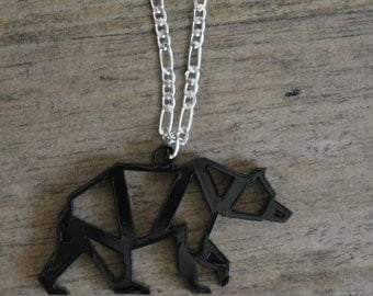 Geometric bear necklace- laser cut jewellery