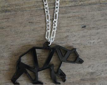 Geometric bear necklace- laser cut jewellery