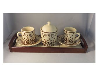 Vintage Italian Espresso Coffee Set, Cups, Saucers, Lidded Sugar Bowl on Solid Wood Tray Retro 1970's