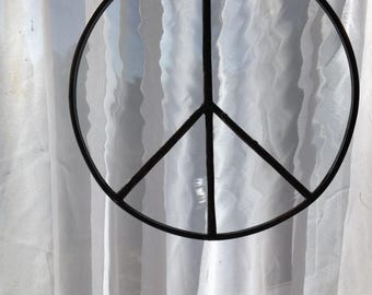 """Peace Sign- Wavy Clear Stained Glass-6"""""""