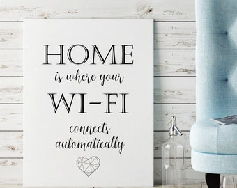 Home is where WI-FI connects automatically Calligraphy print Instant download Printable art Wall art Home Decor