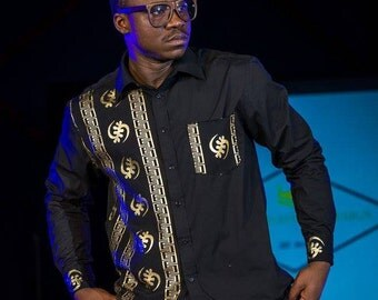 Black with Gold Mens Dress shirt, Gye Nyame Dress Shirt,
