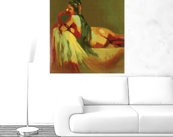 red green woman with a long heir painting  ,red green woman prints,wall decor woman red green,gift for her,wife gift,gift edea