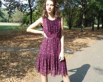 Bordeaux Dress, Chiffon Dress, Sleeveless Dress, Dress With Rucets, Flower Dress, Short Dress, Dresses, Women's Clothing.
