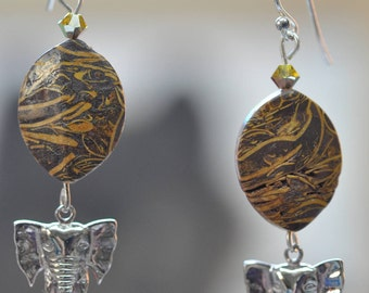 Elephant Skin Jasper  .925 silver Elephant Charm Earrings