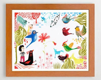 16- #Illustration #Artprint #Artwall #Colorful #Artwall #Birds#Dog#Girl  #Europeanstreetteam